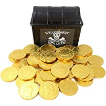 Pirate Treasure Chest 50 Large Chocolate Coins WellPackBox Party Supplies Favor For Toddlers Kids Boy Girls