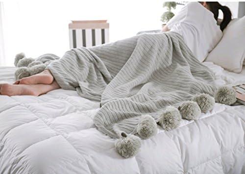 Icegrey Manta con pompones, de punto hecha a mano, colcha ...