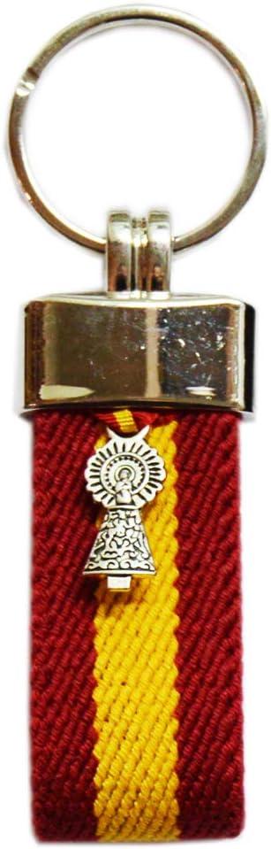 Llavero Virgen del Pilar. Tira de loneta de la Bandera de España. Medida 9.5 cm: Amazon.es: Equipaje