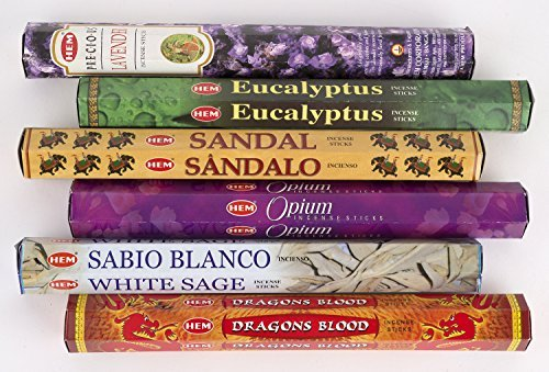 Hem Incense 6 Piece Pack - Lavender, Eucalyptus, Sandal, Opium, White Sage, Dragon - Eucalyptus Incense