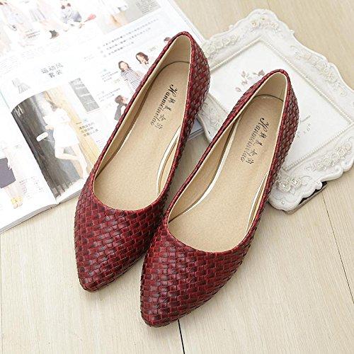&huo Zapatos planos con punta, planos con zapatos de botas, zapatos de moda de gran tamaño 39