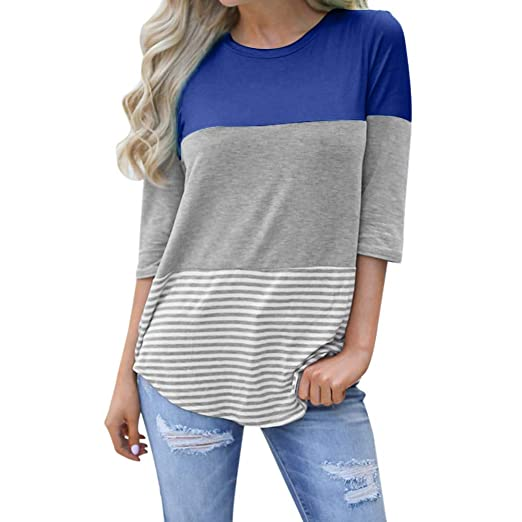 87a6e4fbf89b9 Blouses for Women Loose Striped Patchwork Lace Three Quarter Sleeve  Sweatshirt Shirts Tops Blouse Black at Amazon Women s Clothing store