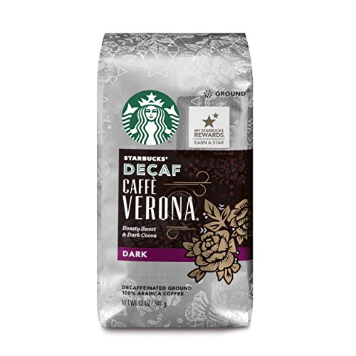 Starbucks Decaf Caffè Verona Dark Roast Ground Coffee, 12-Ounce Bag (Pack of 6)