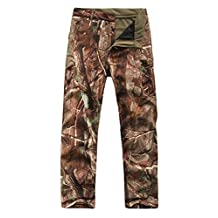 Men Outdoor Hunting Camping Waterproof Sharkskin Soft Shell Camouflage Tactical Fleece Lined Warm Wear-resisting Casual Pants Trees Camouflage