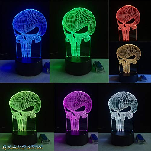 (HRUIHKV New Tooth Skull 3D LED USB Lamp Halloween Punisher Mood Colorful Scared Theme Haunted House Decor Night Light Stage)