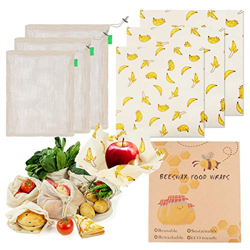 Reusable Beeswax Food Wraps Cotton Produce Bags for Food Storage Eco-friendly (Banana Print)