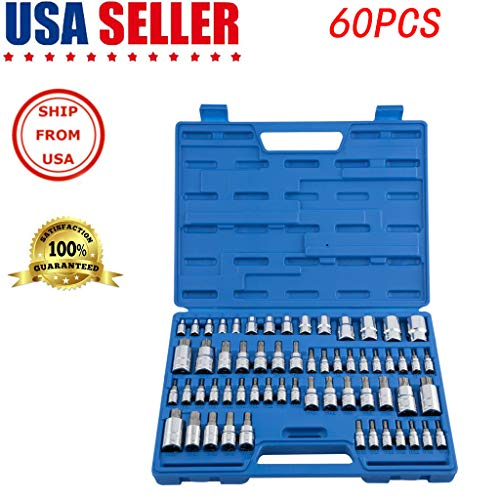 US shipment Clearance Master Torx Socket Set | 60Pc Tamper Proof Security Bits Plus External Star New by USLovee3000