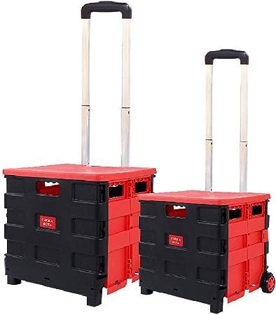 Carrito de compras plegable Carrito de compras con ruedas, Caja plegable con ruedas Carrito de servicio Carrito de servicio con tapa de elevación, 55 kg Capacidad de carga,Rojo,Small: Amazon.es: Hogar