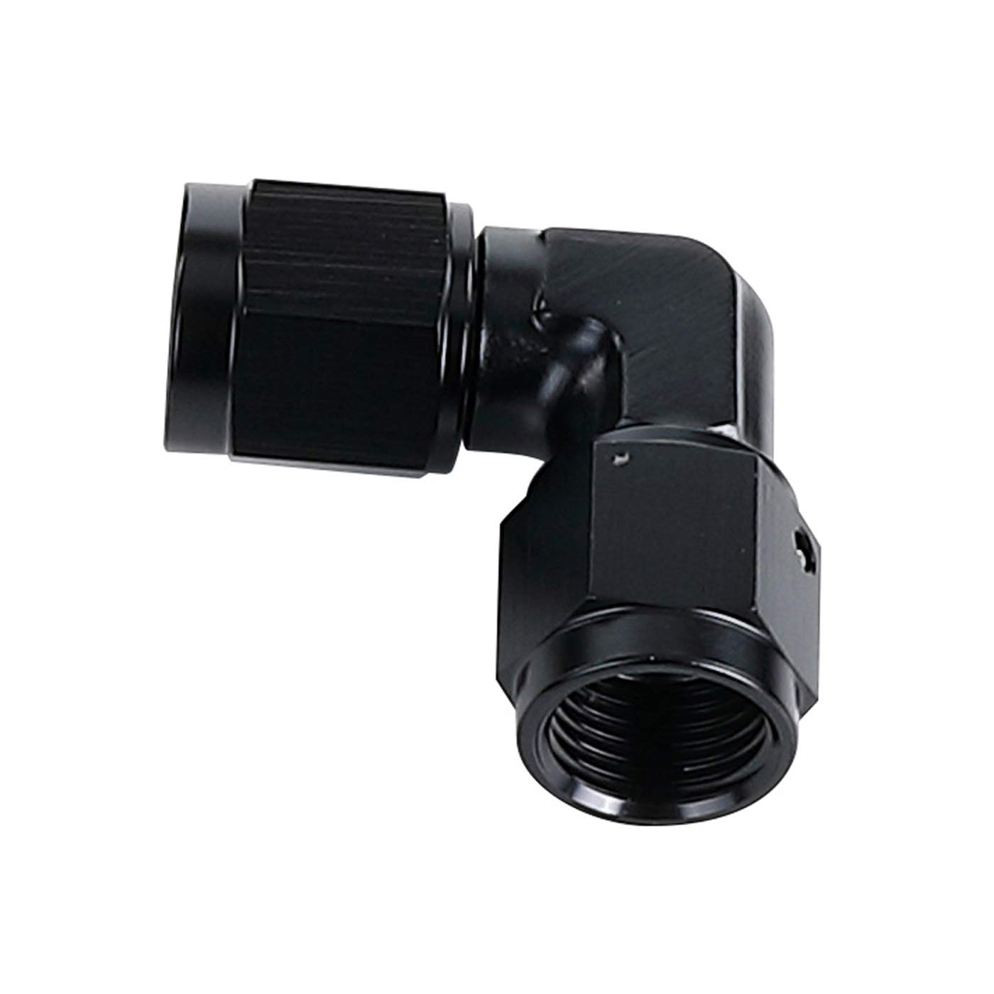 Black Aluminum 90 Degree Forged 3 AN Swivel Female to Male AN3 Hose Union Fuel Bulkhead Fitting Adapter