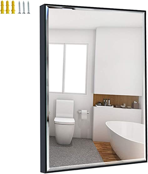 Calenzana 24×36 Wall Mirror with Black Frame, Explosion-Proof Beveled Hanging Mirrors for Bathroom Living Room Bedroom Makeup Vanity