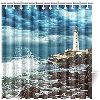 InterestPrint Stormy Beach Lighthouse Custom Shower Curtain 69 X 72 Inches  Polyester Fabric Bathroom Sets Home Decor
