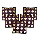 Dream Weaverz Beautiful Cushion Cases (Set of 5) with Premium Quality Leather and Velvet (16*16 inch)- Brown