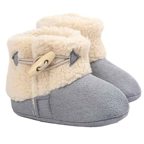 Elevin(TM)Baby Girl Boy Soft Sole Crib Shoes Anti-slip Prewalker Shoes Snow Boots (0~6M, Gray)