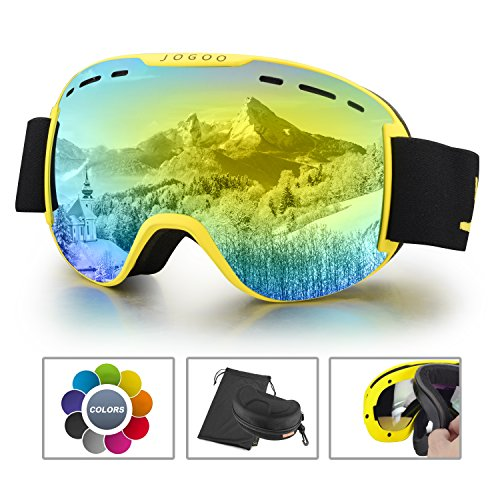 Jogoo Ski Goggles For Snowboard and Snowmobile,Interchangeable Lens and Magnetic Detachable Foam,UV400 Protection and Anti-fog Design OTG Snow Goggles for Men Women Youth & Unisex