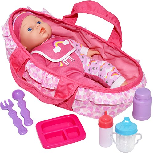 t, 12 Inch Soft Body Baby Doll with Carrier Bassinet Bed and Pillow, Includes Play Doll, Realistic Bottles, Spoon and Fork Utensils, Bib, Plate ()
