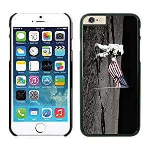 Silicone Black Iphone 6 Case 4.7 Inches USA Flag and American Astronaut on the Moon Soft Phone Rubber Cover hjbrhga1544