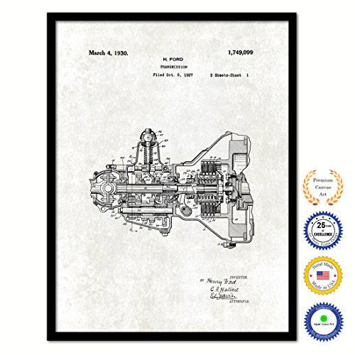 SpotColorArt 1930 Henry Ford Engine Transmission Vintage Antique Patent Artwork Great Gift for Mechanic Car Collector Black Framed Canvas Print Home Office Decor Wall Art