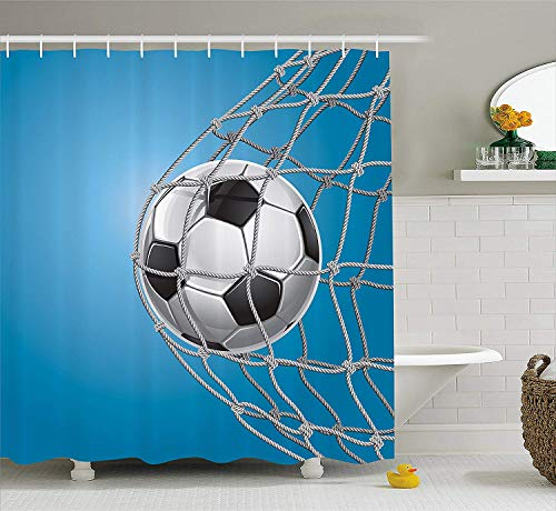 Soccer Shower Curtain Goal Football in Net Entertainment Playing for Winning Active Lifestyle Fabric Bathroom Decor Set with Hooks Blue Grey 84