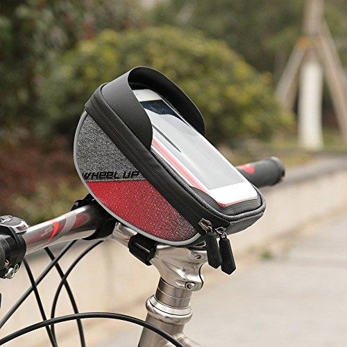 Fahrrad Lenkertasche, Wasserdichter Touchscreen Radfahren oberen Rahmen Beutel Mountain Road MTB Fahrrad Lenkertasche mit Reflektierenden Streifen 6.0 Zoll Schwarz