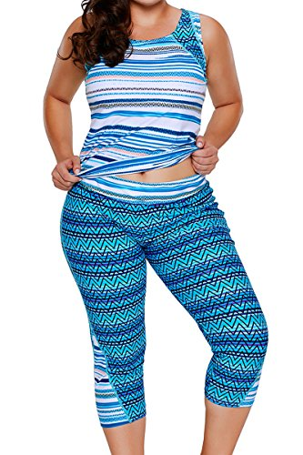 ENLACHIC Women Stripes Print Tank Top and Capris Set Two Piece Tankini Swimsuit,Beach Blue,XXXXL(US 26-28) (2 Capri Piece Set)