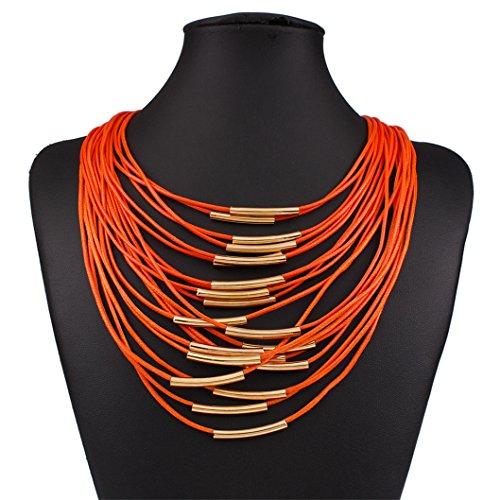 Lanue Exaggerated Bohemian Multilayer Tassels Leather Necklace Earrings Statement Bib choker Jewelry Set (Orange)