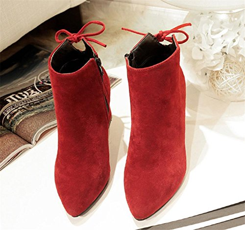 NVXIE Women's Short Boots Suede Plus Cashmere Warm Rough Heel Bow tie Black Brown Fall Winter Party Work WINERED-EUR42UK85 H2EwVd