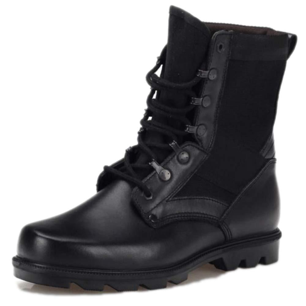 Snfgoij Arbeitsschuhe Männer Sicherheit Trainer Wasserdicht Beständig Zu Fuß Hohe Stiefel Leder Outdoor Spezialeinheiten Militärschuhe