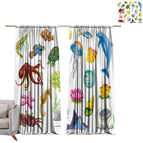 WinfreyDecor Marine Soft Curtain Sea Animals Octopus Dolphin Shells Stingray Crab Turtle Jellyfish Wildlife Graphic Privacy Protection W108 x L72