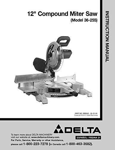 pound Miter Saw Instruction Manual Reprint ()