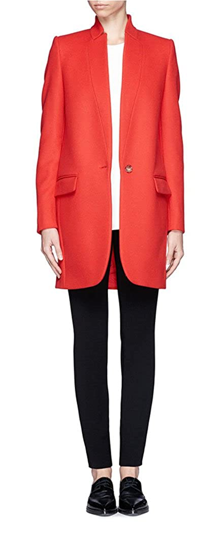 GESELLIE Women's Stand Collar Long Sleeve Blazer Coat Slim Fit Wool Blend Overcoat