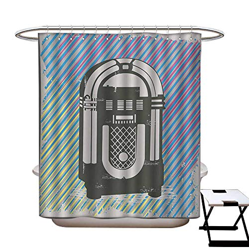 Jukebox Anti Bacterial Shower Curtain Liner Radio Party Dark Grey Vintage Music Box with Abstract Grunge Colorful Stripes Image No Chemical Odor,Rust Proof Grommets Holes Multicolor72×84