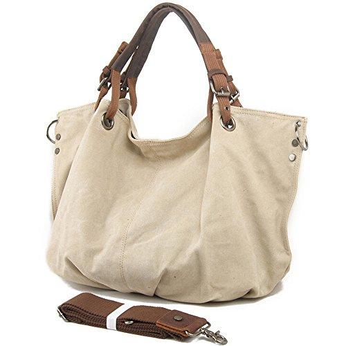 - Canvas Tote Bag, Boshiho Oversized Vintage Hobo Handbag Women Canvas Shoulder Bag with Genuine Leather Handles (Beige)