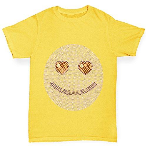 Twisted Envy Purple Love Emoji Rhinestone Yellow Girl's T-Shirt Age (Gems For Grls)