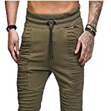 Pants For Men, Clearance Sale! Pervobs Men's Casual Solid Fold Sport Outdoors Drawstring Pant Trouser With Pockets(L, Green)