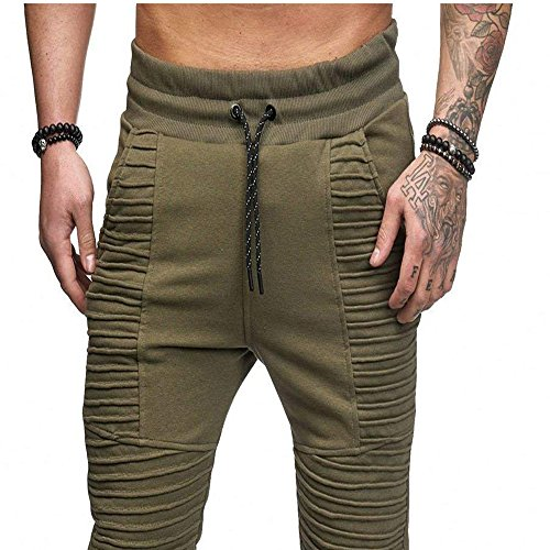 Pants For Men, Clearance Sale! Pervobs Men's Casual Solid Fold Sport Outdoors Drawstring Pant Trouser With Pockets(L, Green) by Pervons Mens Pant