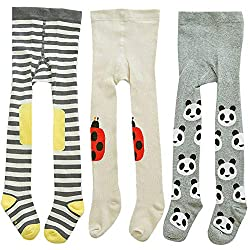 Baby Girl Tights Toddler Knit Cotton Leggings Pants Cartoon Socks 3 Pack