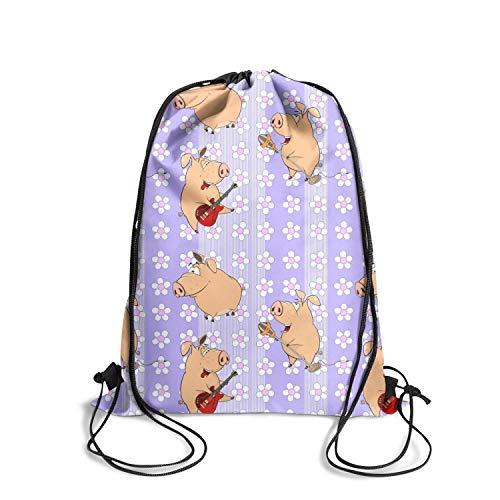 (Ugly Guitar Pigs with Purple Flowers Shoulder Drawstring Bags Best String Backpackadjustable Strap Sport Travel)