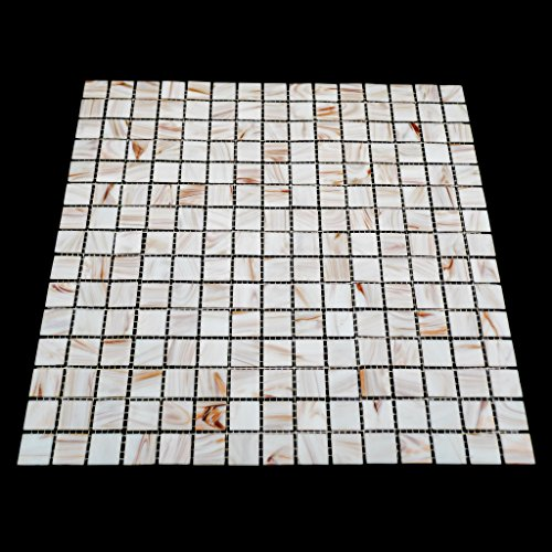 URBN Contemporary White Iridescent Glass Mosaic Tile with Metallic Bronze Highlight for Kitchen and Bath Sample Tile 4-1//3 inches x 4-1//3 inches, 0.13 SQ FT