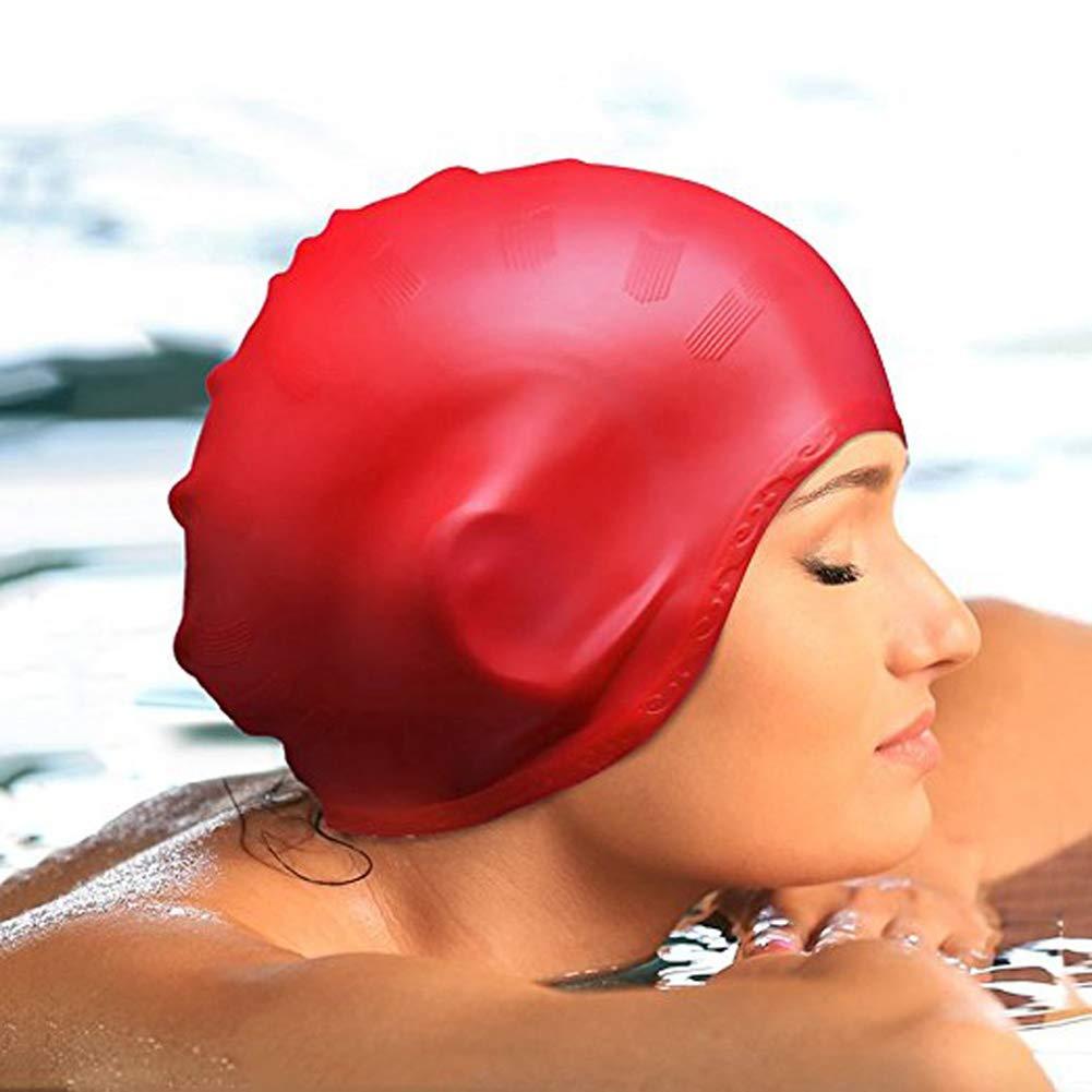 1pc Swimming Cap No-Slip Swimming Cap Swimming Cap Ear Wrap Waterproof Hat for Adult Women Men(Pink) by Asien (Image #2)