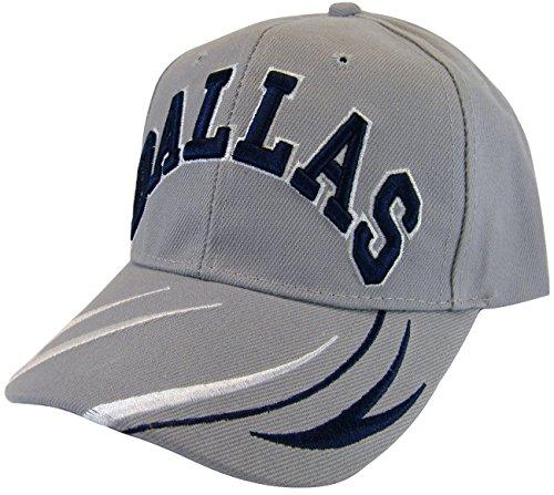 BVE Sports Novelties Dallas Men's Script & Stripes Adjustable Baseball Cap (Light Gray) ()