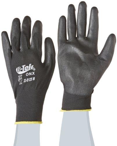 G-Tek 33-B125/M ONX Seamless Knit Nylon Gloves with Polyurethane Coated Palm and Fingers, Black, Medium, 1-Dozen