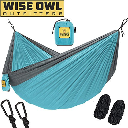 wwww Hammock for Camping – Single & Double Hammocks Gear For The Outdoors Backpacking Survival or Travel- SO Light Blue & Grey-SingleOwl For Sale