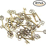 Swity Home 60 Pcs Keys Skeleton Keys in Antique Bronze Set of 60 Keys (3 Styles)