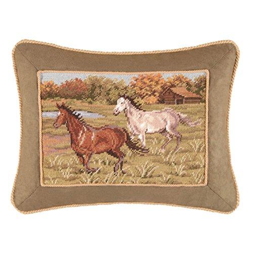 C&F Home Running Free Horses Needlepoint Pillow 14 x 18 Tan - Horse Needlepoint Pillow