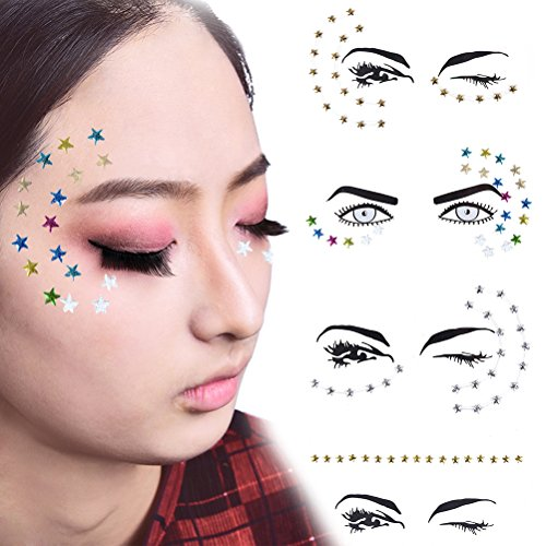 Xiangfeng 4 pcs Acrylic Face gem Jewel Stickers Colorful Stars Tattoo Eye Glitter Shimmer (Jewel Star)