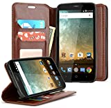 zte prelude cricket - ZTE Maven 3 Case, ZTE Overture 3 Case, ZTE Prelude Plus Case(4G LTE), NageBee [Kickstand Feature] Premium PU Leather Flip Fold Wallet Case with [ID&Credit Card Slot] (Brown)