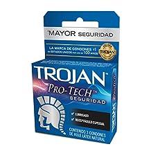Trojan Pro - Tech Seguridad, Caja de 3 Condones azul