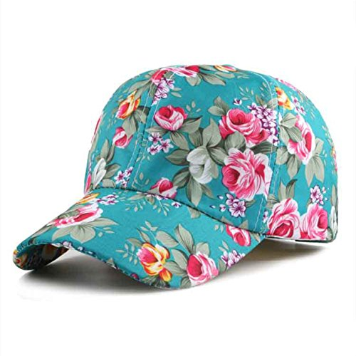 Baseball Cap Clearance ♥ Floral Print Baseball Cap Adjustable 100% Cotton Canvas Dad Hat Hats for Women (Green) - Baseball Sleeveless Hat