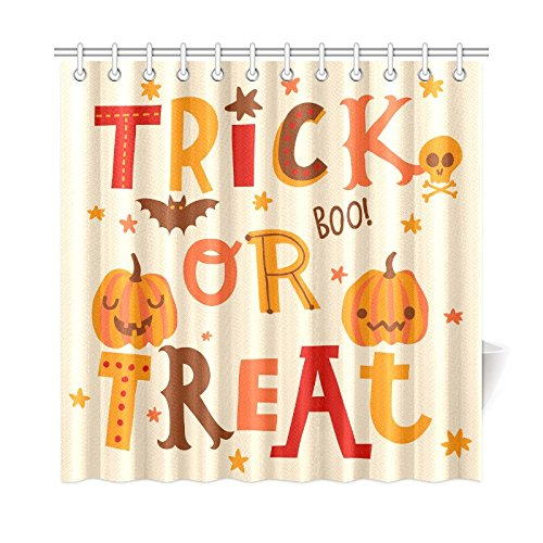 InterestPrint Cute Halloween Pumpkin Home Decor, Trick or Treat Boo Polyester Fabric Shower Curtain Bathroom Sets 72 X 72 (Cute Halloween Home Decor)