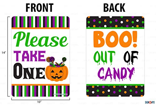 Please Take Just One Halloween Sign (Interstate SignWays Please Take One, Boo Out of Candy Halloween Double Sided Sign, Reflective, Aluminum, 10